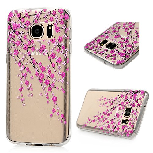 Badalink (Not for S7 Edge) Galaxy S7 Case Soft TPU Shockproof Rubber Skin Gel Bumper Colorful Painting Pattern Ultra Slim Crystal Clear Cover for Samsung Galaxy S7 (2016) - Branches with Pink Flowers