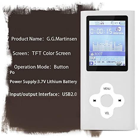 GGMartinsen Silver Versatile MP3/MP4 Player with a Micro SD Card, Support Photo Viewer, Mini USB Port 1.8 LCD, Digital MP3 Player, MP4 Player, ...
