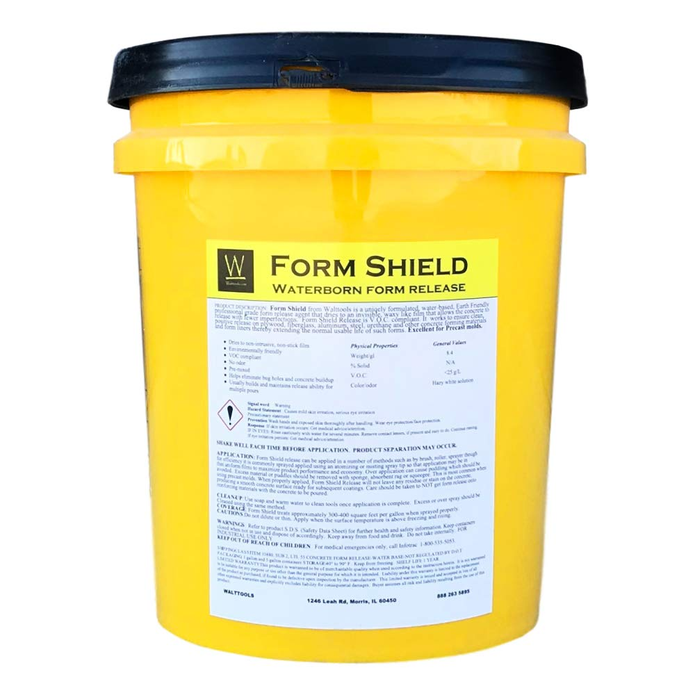 Form Shield Concrete Form Release Agent for Clean Release of Liners, Plywood, Fiberglass, Steel, Urethane, More - Good for Countertop Forms, Precast Molds, Step Liners, Etc. (5 gallon) Walttools by Walttools