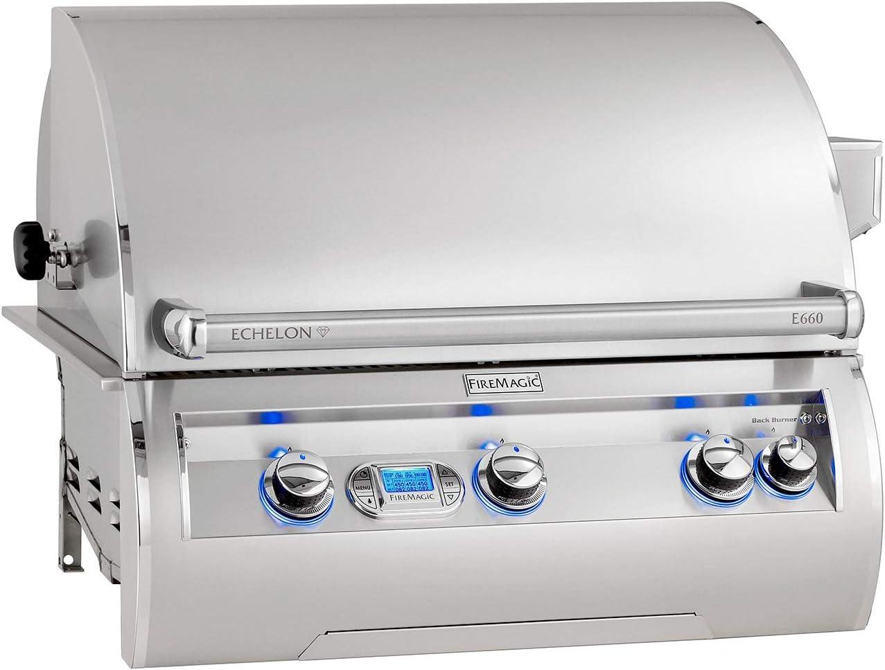 E1060I-8L1N-W Magic View Window /& Digital Thermometer Rotisserie Fire Magic Echelon Diamond E1060I 48-Inch Built-in Natural Gas Grill W//One Infrared Burner