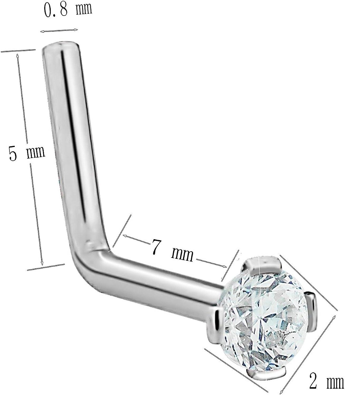 D.Bella 20G Clear Bioflex Piercing Nose Screw Stud Ring Piercing Nose Retainers Top Ball 1.5mm 2mm 2.5mm 3mm 30-40PCS