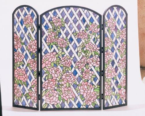 (Meyda 40 in. Rose Trellis Folding Fireplace Screen)