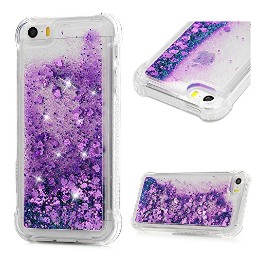 Compatible for iPhone SE Case, iPhone 5S Case, MOLLYCOOCLE Liquid Bling Glitter Sparkle TPU Phone Cover 3D Cute Star Flowing Floating Quicksand Soft TPU Bumper Cover for iPhone 5/5s/SE, Purple