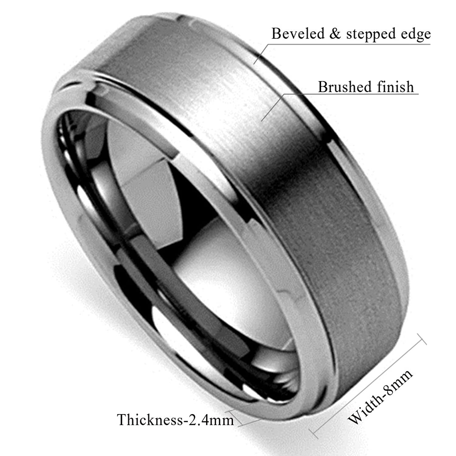 King Will BASIC Mens Tungsten Carbide Ring 8mm Polished Beveled Edge Matte Brushed Finish Center Wedding Band