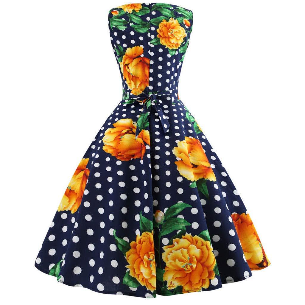 DMZing Women Midi Skirt Swing Dress Fashion Casual Loose Sleeveless Floral Print Holiday Party