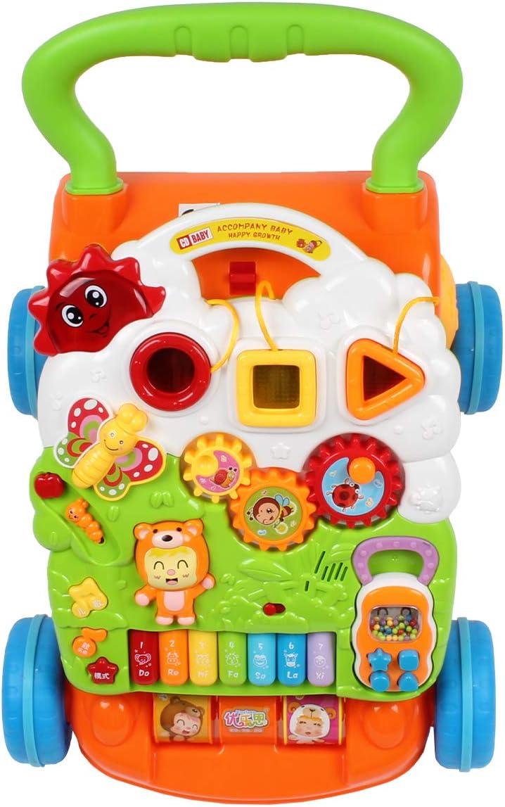 Calma Dragon Andador para Bebés, Correpasillos, Caminador para niños, Primeros Pasos con Música y luces, Plegable