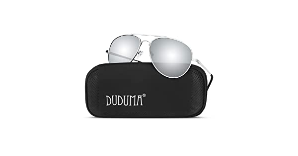 9ed3fc269 Duduma Premium Full Mirrored Aviator Sunglasses w/Flash Mirror Lens Uv400(Silver  Frame/Silver Mirror Lens)