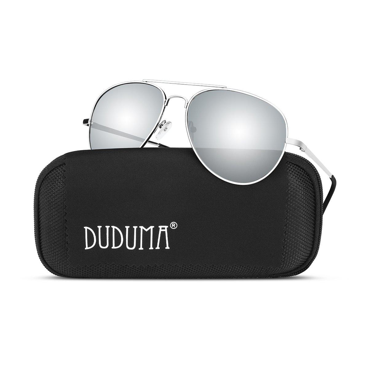 Duduma Premium Full Mirrored Aviator Sunglasses w/Flash Mirror Lens Uv400(Silver frame/Silver mirror lens) by Duduma