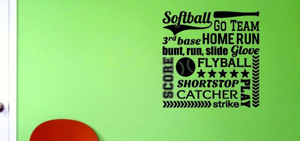 Black Design with Vinyl JER 532 4 Softball Sports Go Team 3rd Base Home Run Bunt Run Slide Glove Score Flyball Shortstop Catcher Play Strike Vinyl Wall Decal 20 x 20