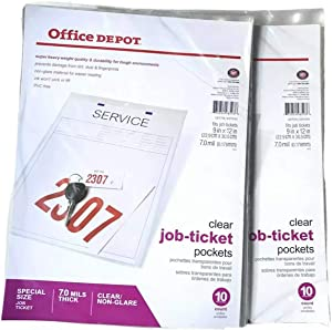 OFFICE DEPOT Clear Job-Ticket Pockets, Holder, Super Heavy Weight Quality, Durability, Special Size 9 in X 12 in, 7.0 Mils Thick, Clear/Non-Glare, 3 Pack (10 x 3) / 30 Pieces.