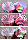 STARUBY Baking Cups 3-Styles Colorful Rainbow Disposable Cupcake Liner Muffin Paper Liners Baking Cup,Pack of 300