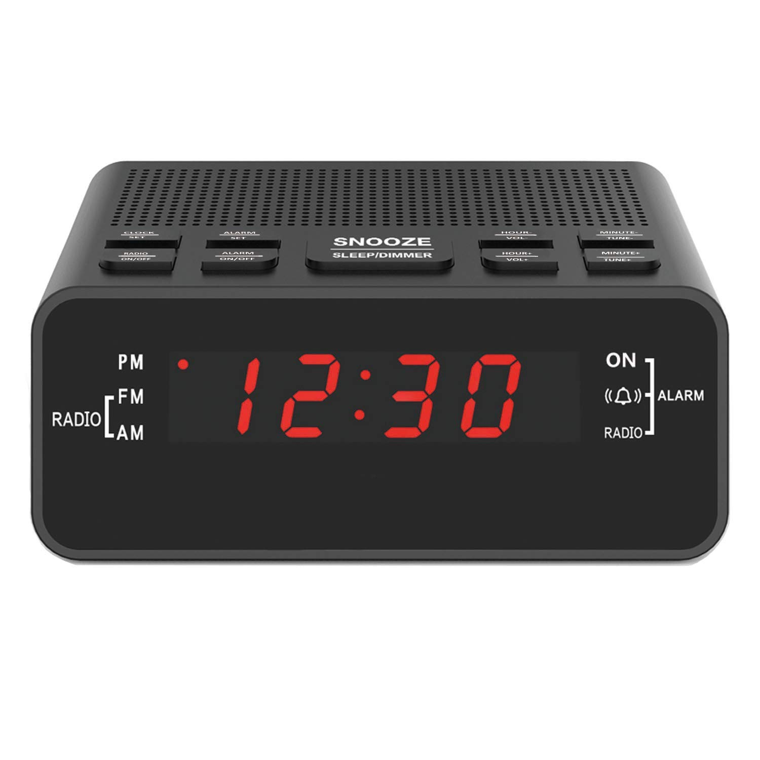 """Jingsense Digital Alarm Clock Radio, Small Alarm Clocks for Bedrooms with AM/FM Sleep Timer Radio, 0.6"""" Red Digits LED Dimmer Display, Easy Snooze ..."""