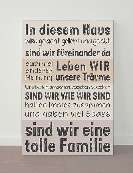 Wohnstil Leinwand 60x40 Haus Familie Team Schriften Spruche