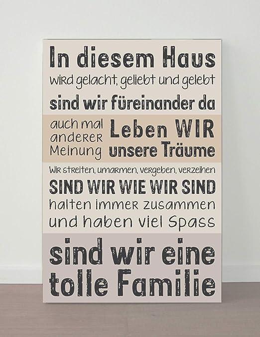 Lienzo 60 X 40 Casa Familia Team Schriftensprüche