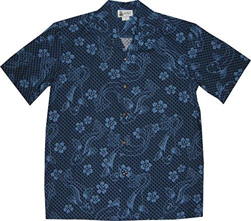 Aloha Republic XL Blue Koi Carp Fish Men's Hawaiian Shirt – Made In Hawaii USA
