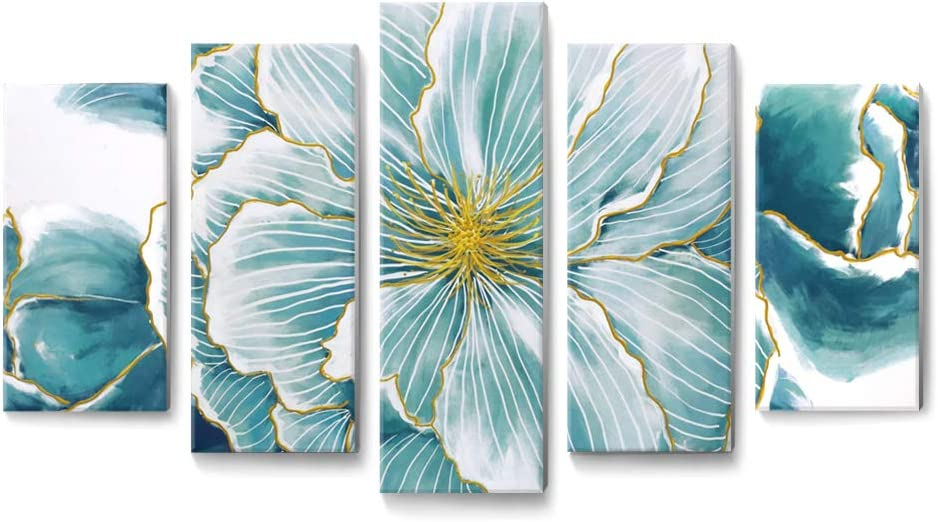 Teal Wall Art Abstract Floral Canvas Print with Hand-Painted Texture and Gold Foil Wall Decor Framed Picture for Modern Living Room Bedroom Office 5 Pieces
