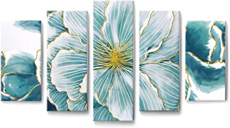 Amazon Com Teal Wall Art Abstract Floral Canvas Print With Hand Painted Texture And Gold Foil Wall Decor Framed Picture For Modern Living Room Bedroom Office 5 Pieces Posters Prints