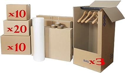 Packs cartones mudanza (1/2 piezas: 10 cartones libros + 20 unidades Standards + 10 unidades ropa + 3 cartones Ropero + 2 rollos plastibulles incluye 3 rollos adhesivos): Amazon.es: Hogar