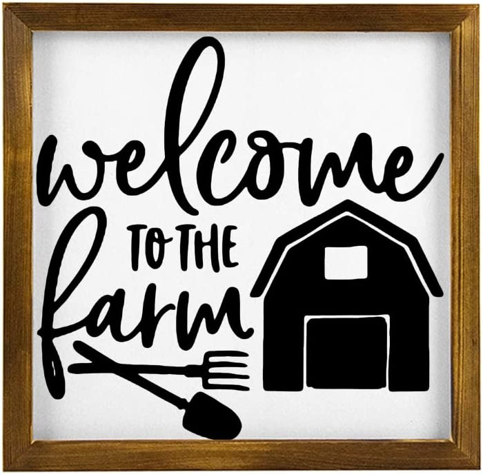 Wood Sign, Welcome to The Farm Sign, Farmhouse Living ROM Decor, Entryway Signs, Housewarming Gift Decorative Home Wall Art 12x12
