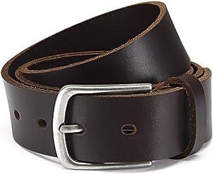 Eg-Fashion Herren Jeans-Gürtel 4 cm breit Vollledergürtel aus 100% Büffel-Leder - Schnalle im Used Look - Individuell kürzbar durch Schraubhalterung