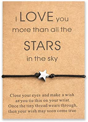 """Silver /""""I Love You More Than All The Stars/"""" Star Message Card Necklace Gift Her"""