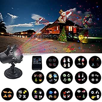 Outdoor Laser Light Projector, 16PCS Pattern Projector Landscape Light with IR Wireless Remote, Star Laser Show for Decoration Lighting on Christmas Halloween Holiday Party