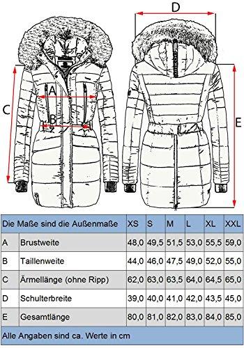 Marikoo 6 grande Nova Camuffamento Colori lungo Cappotto donna XXL con XS invernale da trapuntato rrTzwq
