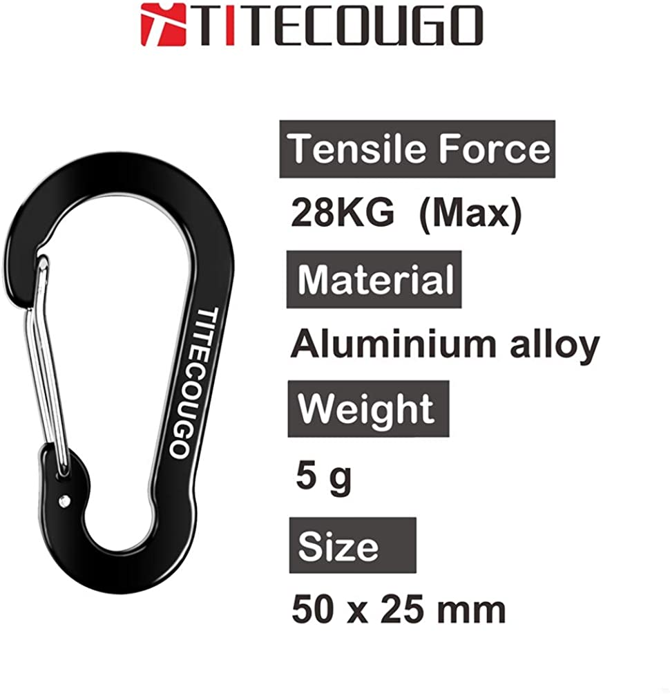TITECOUGO Mini Carabiner Keychain for Backpack Bottle Camping Tent Accessories