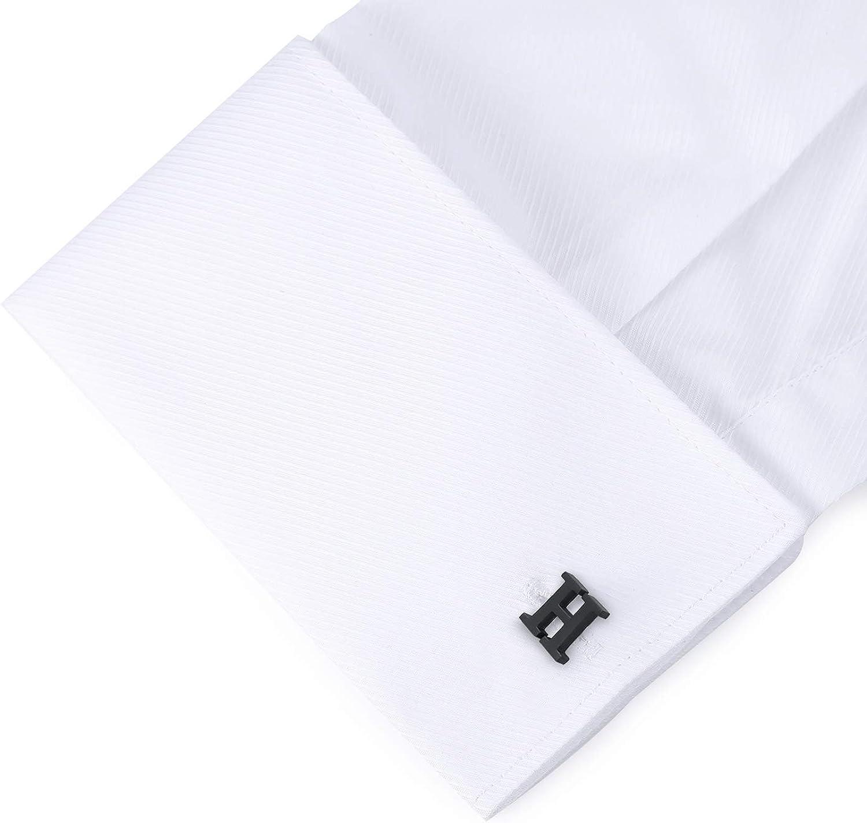 Noir HONEY BEAR Initiale Lettre Alphabet Boutons de Manchette /& Pinces /à Cravate Set Acier Inoxydable pour Le Cadeau daffaires de Mariage de Chemise dhommes