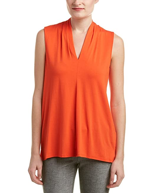 1f839381052c Vince Camuto Women's Sleeveless V-Neck Top Vivid Flame Blouse MD ...