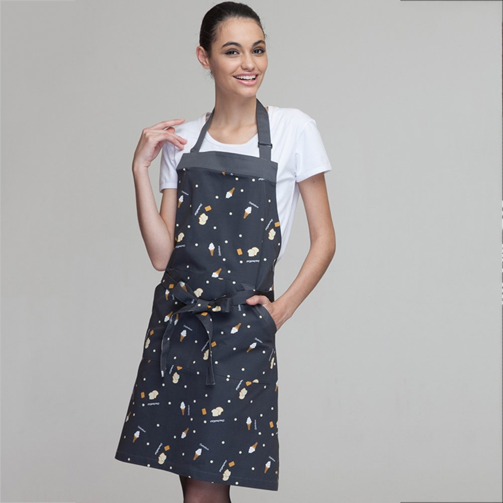 TY&WJ Cotton apron Pinafore Cooking Kitchen [household] Restaurant Coffee shop Work clothes Oil-proof Anti-fouling High-grade apron-A