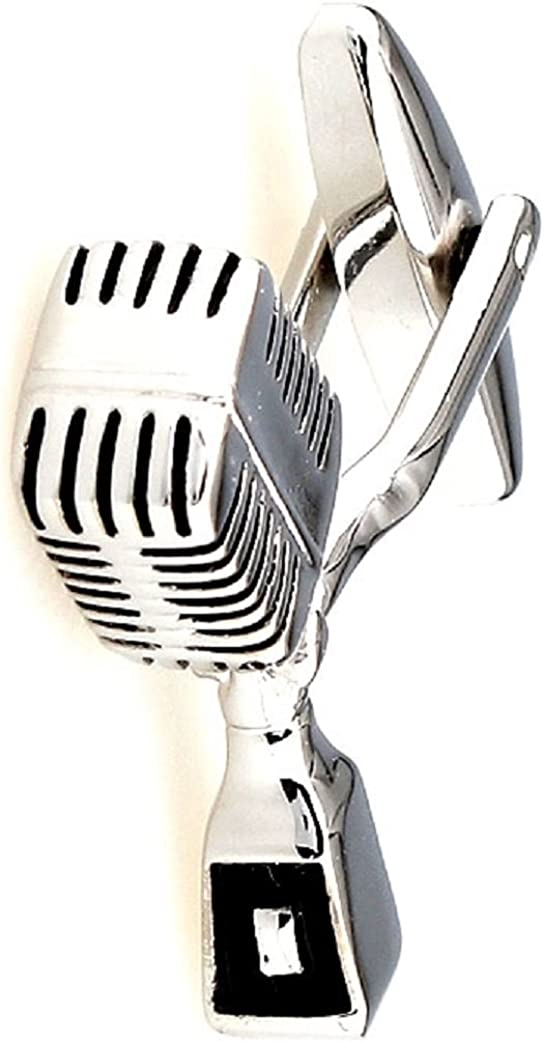 MRCUFF Presentation Gift Box Microphone Radio DJ MC Music Pair Cufflinks & Polishing Cloth