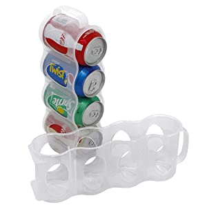 ChasBete Portable Soda Can Organizer for Refrigerator Shelf, Beer Can Holder, Fridge Storage Sliding Rack, Clear Plastic 2 Pack