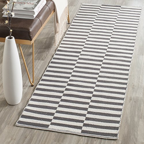 Safavieh Montauk Collection MTK715A Handmade Flatweave Ivory and Grey Cotton Runner (2'3
