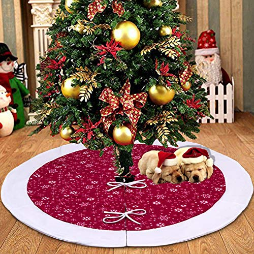 Focushow Snowflakes Christmas Tree Skirt 48 inch with Red and White Velvet Xmas Pattern for Christmas Party Holiday Decorations