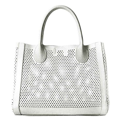 Steve Madden Bperfie Perforated Tote Handbag In White Bperfie