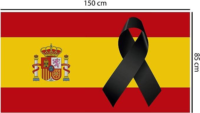 Oedim Bandera de España con Crespón   Medidas 85x150cm   Reforzada y con Pespuntes   Bandera de España con Crespón y 4 Ojales Metálicos   Resistente al Agua: Amazon.es: Hogar