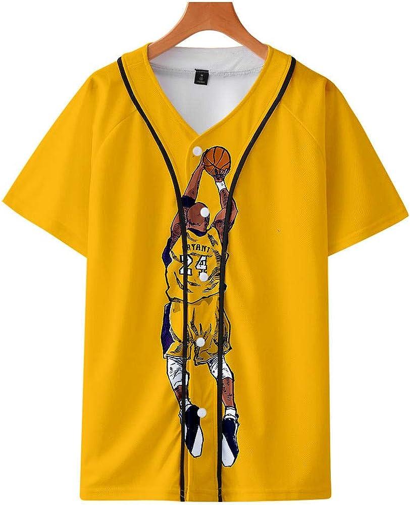Camiseta de béisbol Camiseta Estampada en 3D Kobe Bryant Thin Baseball Uniform Lakers # 24 Legendary Basketball Star T-Shirt Black Mamba Tops: Amazon.es: Ropa y accesorios