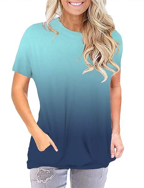 Amazon.com: Camiseta de manga larga y manga corta para mujer ...