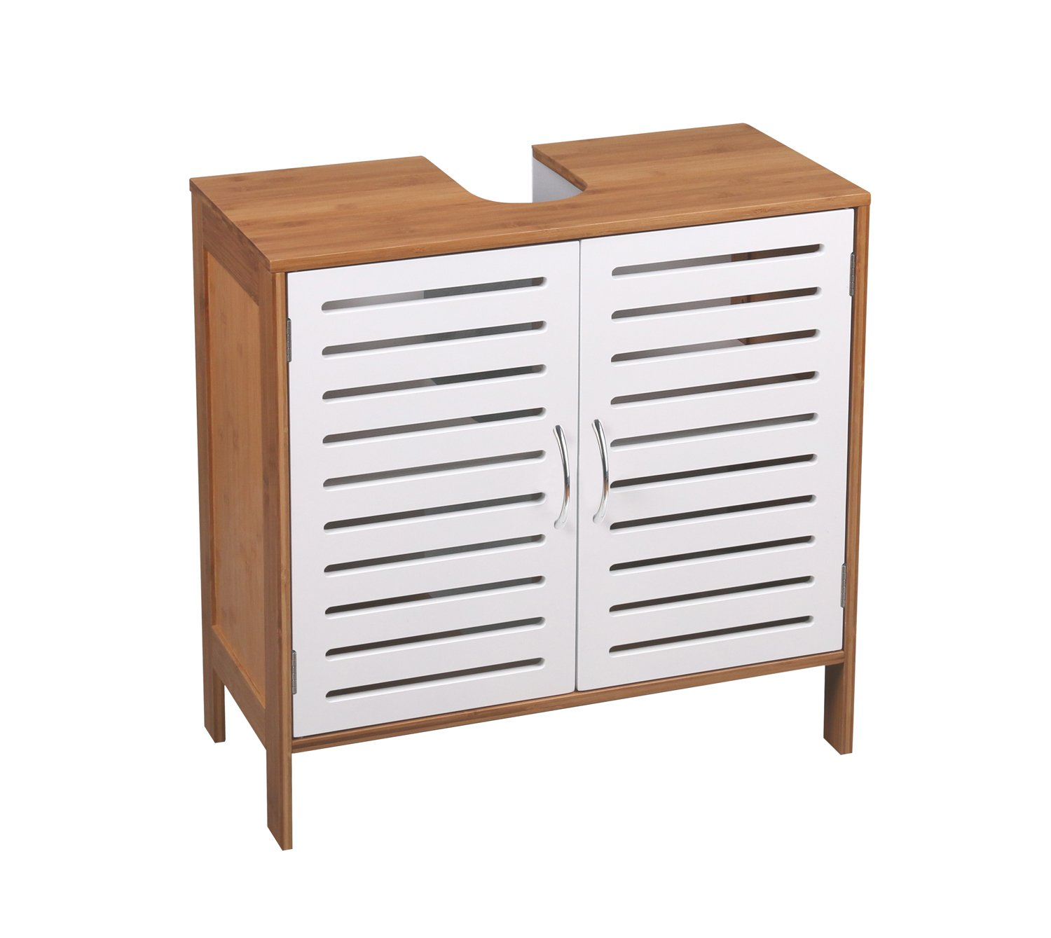 Home Source Tall Slim Bathroom Storage Cabinet White Bamboo 3 Open Shelf 1 Door Cupboard KL-DYHW12129 Stockholm Tall