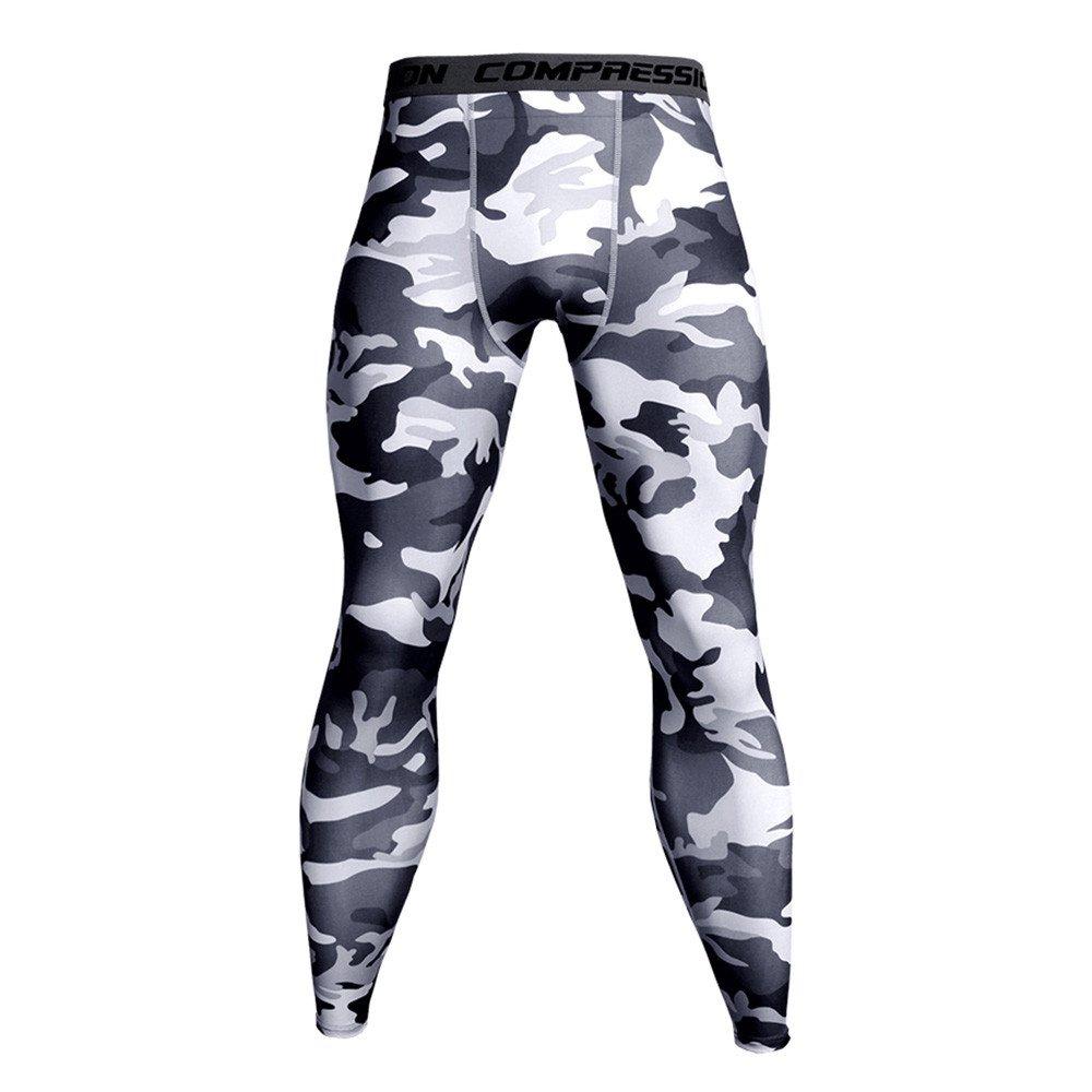 Men Sport Trouser,Jchen Mens Camouflage Compression Pants Quick Dry Tights Pants Running Leggings Yoga Pants (L, White)
