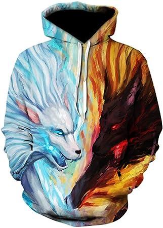DN-clothing Camisa de Entrenamiento Pareja con Capucha 3D Hielo y Fuego Lobo Pullover Novedad Fresca Sudadera (Color : Azul, tamaño : XXL): Amazon.es: Hogar