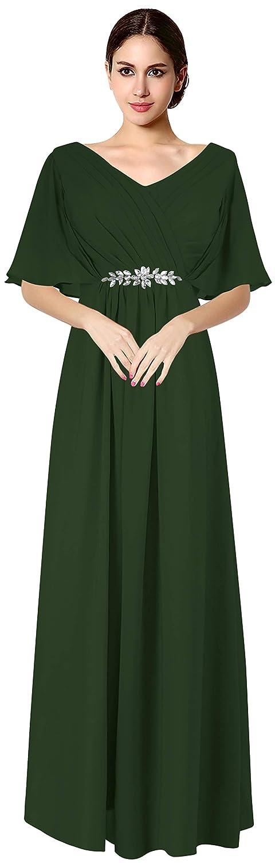 Dark Green VaniaDress Women V Neck Half Sleeveles Long Evening Dress Formal Gowns V265LF