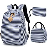 BLUBOON School Backpack for Girls Canvas Bookbag College Laptop Rucksack Women Ladies Travel Daypack Lunch Box Bag Pencil Case
