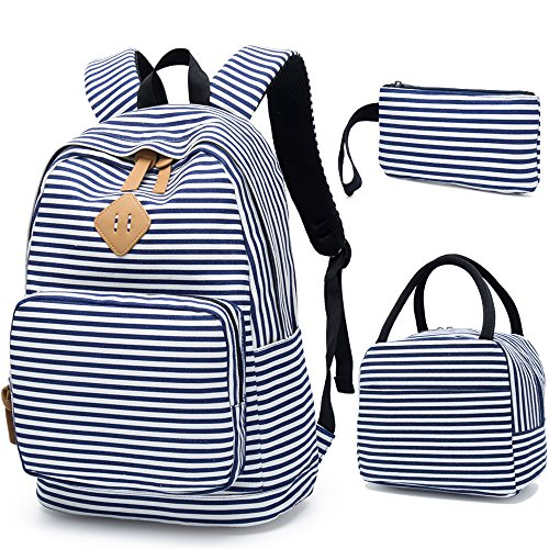 - BLUBOON School Backpack for Girls Canvas Bookbag College Laptop Rucksack Women Ladies Travel Daypack Lunch Box Bag Pencil Case