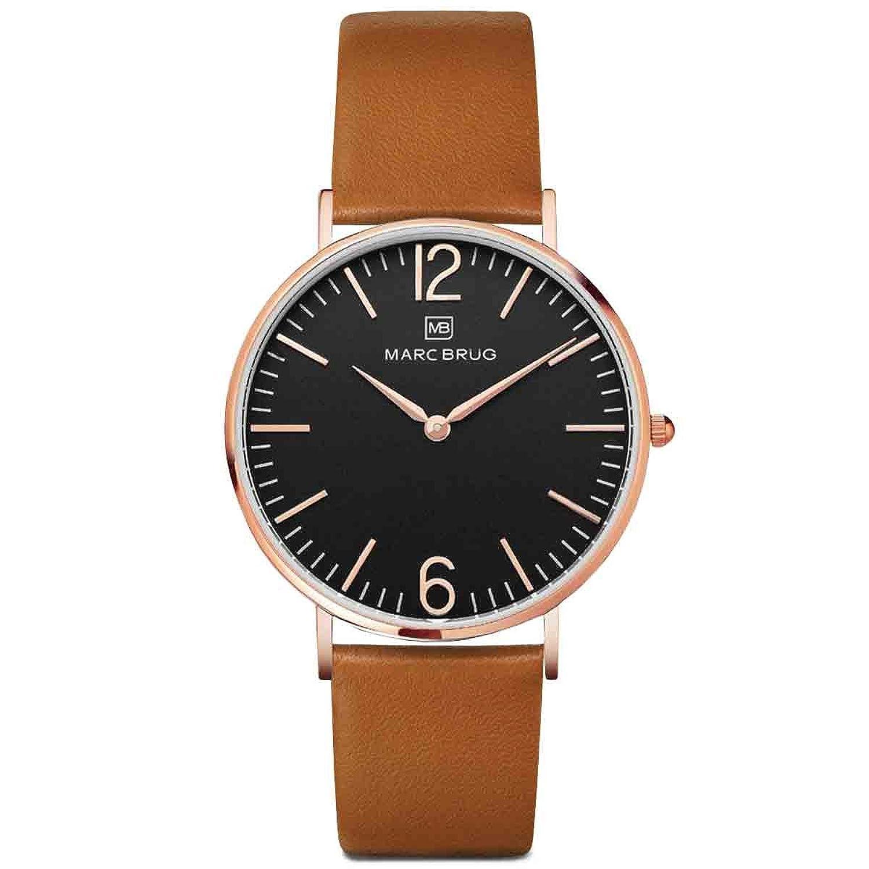Marc brÜg Herren Armbanduhr Minimalist Paddington 41 schwarz mit Rotgold-Finish