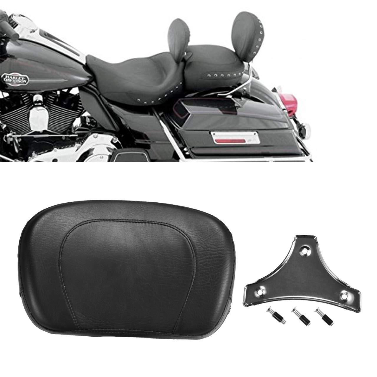 TUINCYN Motorcycle Detachable Backrest Pad Bracket Rear Passenger Black Leather Seat Fits For Harley Yamaha Honda Suzuki Kawasaki Bikes//Custom Bikes//Choppers//Touring//Cruiser