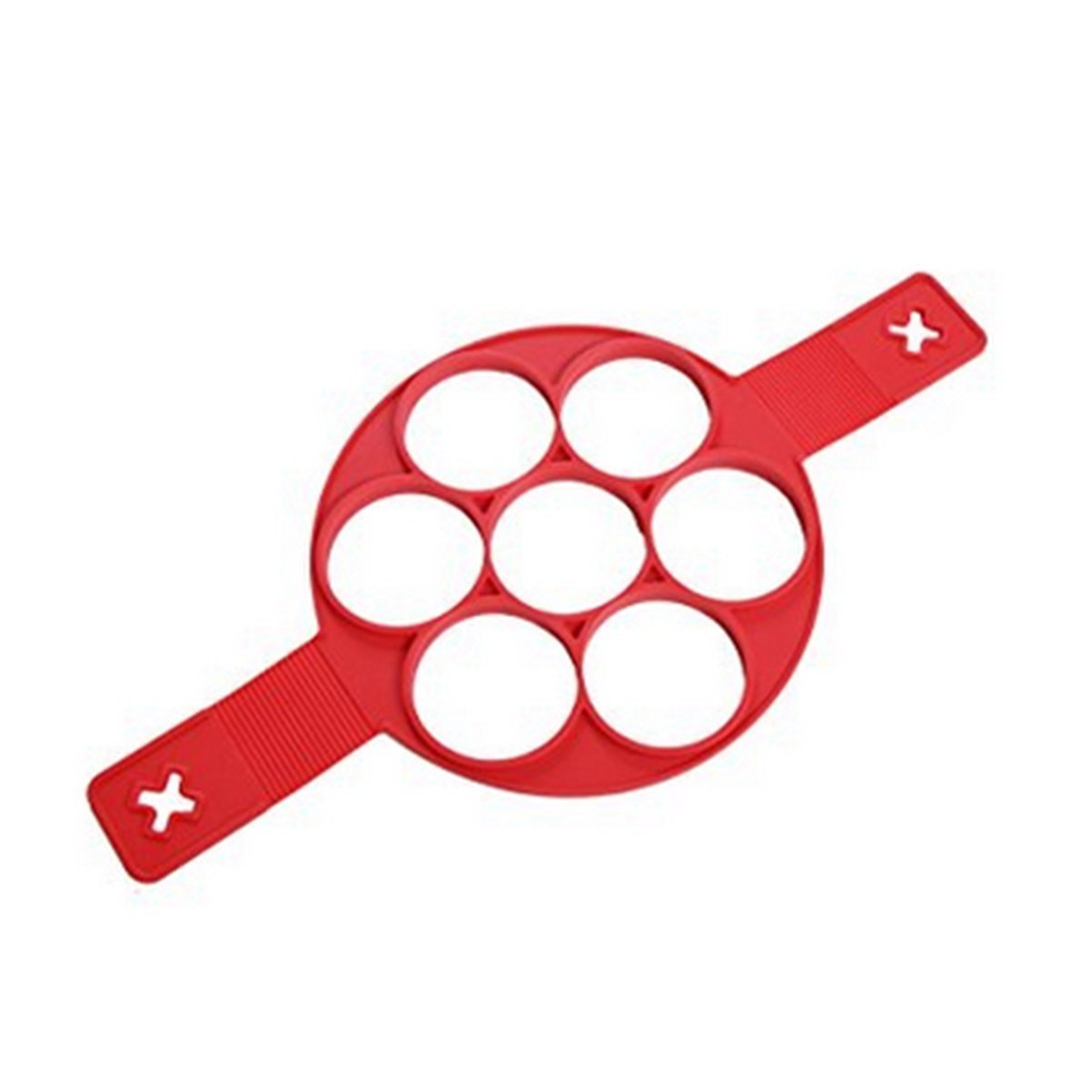 New Upgrade Pancake Molds Ring Fried Egg Mold Reusable Silicone Non Stick Pancake Maker Egg Ring Quickly Make a Cake for You to Save Valuable Time(Red)