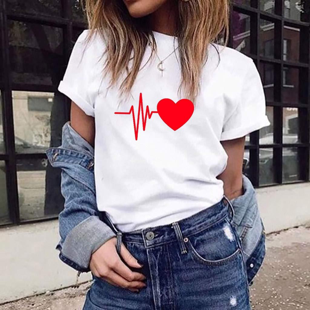 Womens Simple Sports T-Shirt Loose Short-Sleeve Heart Print T-Shirt Casual O-Neck Top