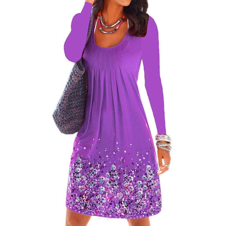 Caopixx Women's Long Sleeve Floral Casual Dress Swing Pleated T Shirt Midi Dresses